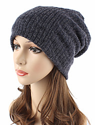 cheap -Unisex Headwear Chic & Modern Knitwear Cotton Wool Blend Beanie / Slouchy Floppy Hat-Solid Colored Pure Color Fall Winter Navy Blue Gray / Cute