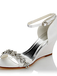 cheap -Women's Sandals Glitter Crystal Sequined Jeweled Wedge Heel Open Toe Comfort Wedding Dress Party & Evening Satin Chain Summer White Ivory / EU39