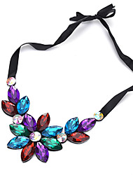 cheap -Women's Choker Necklace Flower Flower Ladies Chunky Arylic Black Rainbow Light Blue Necklace Jewelry For Shopping Dailywear