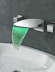 Недорогие -Современный LED Разбросанная Водопад Медный клапан Две ручки три отверстия Хром