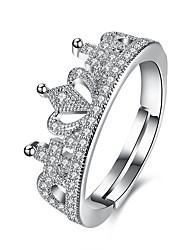cheap -Open Cuff Ring Cubic Zirconia Silver Zircon Copper Crown Ladies Fashion Adjustable / Women's