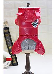 abordables -Chien Manteaux Hiver Vêtements pour Chien Rouge Bleu Costume Térylène Couleur Pleine Garder au chaud S M L XL XXL