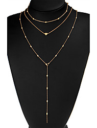 cheap -Women's Statement Necklace Y Necklace Long Necklace Lariat Beads Stacking Stackable Heart Ladies Classic Bohemian Punk Alloy Gold Silver Necklace Jewelry For Party Graduation Daily Stage School