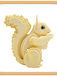 cheap -3D Puzzle Jigsaw Puzzle Model Building Kit Squirrel Animals DIY Wooden Kid's Toy Gift