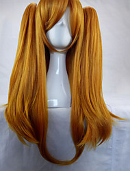 cheap -woman 70cm long straight braided orange synthetic hair party wigs 2 clips ponytail cosplay wig Halloween