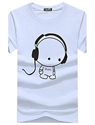 cheap -Men's Daily Basic Cotton Slim T-shirt - Graphic Print Round Neck Black / Short Sleeve / Summer