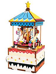 cheap -Horse Carousel Cartoon Merry Go Round Wooden Puzzle Cute DIY Wooden Composite Kid's Toy Gift
