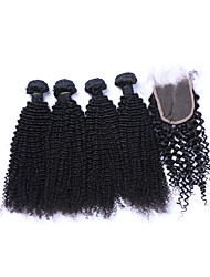 cheap -4 Bundles With Closure Brazilian Hair Kinky Curly Curly Weave Human Hair Natural Color Hair Weaves / Hair Bulk Human Hair Weaves Human Hair Extensions / 8A