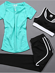 cheap -Women's Spandex Tracksuit Yoga Running Pilates Cycling Quick Dry Fitness, Running & Yoga Sportswear Compression Clothing Short Sleeve Activewear Stretchy