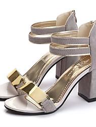 cheap -Women's Sandals Glitter Crystal Sequined Jeweled Block Heel Sandals Spring / Summer Chunky Heel Open Toe Club Shoes Dress Metal Nubuck leather Black / Red / Beige / EU39