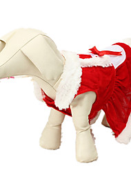 cheap -Dog Costume Winter Dog Clothes Red Costume Chinlon Solid Colored Christmas XXS XS S M L