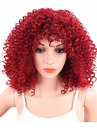 cheap -Synthetic Wig Curly Afro Kinky Curly Curly Wig Short Red Synthetic Hair Women's African American Wig Red