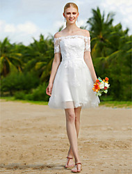 cheap -A-Line Wedding Dresses Off Shoulder Short / Mini Tulle Short Sleeve Little White Dress Floral Lace with Sashes / Ribbons Appliques 2020
