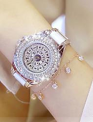cheap -Women's Bracelet Watch Wrist Watch Diamond Watch Quartz Stainless Steel White 30 m Water Resistant / Waterproof Creative Analog Ladies Charm Luxury Casual Bangle - Gold Silver One Year Battery Life