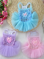 cheap -Dog Dress Dog Clothes Princess Purple Pink Light Blue Cotton Costume For Summer Women's Birthday Casual / Daily