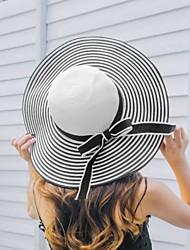 Недорогие -Жен. На каждый день Шляпа от солнца-Чистый цвет Акрил Солома,Полоски Весна Лето Белый Черный