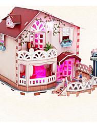 abordables -Puzzles 3D Kit de Maquette Maison Éclairage Papier Enfant Jouet Cadeau