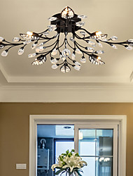cheap -8-Light 80 cm Crystal Flush Mount Lights Metal Painted Finishes Chic & Modern 200-240V / 110-120V / G9