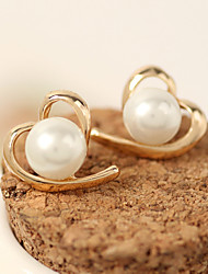 cheap -Women's Pearl Stud Earrings Heart Heart Fashion Earrings Jewelry White For Party Evening Casual Wedding Party