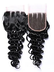 Недорогие -Бразильские волосы 4x4 Закрытие Крупные кудри Бесплатный Часть / 3 Часть Швейцарское кружево Натуральные волосы