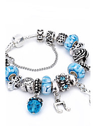 cheap -Women's Crystal Charm Bracelet Bead Bracelet Friends Heart Flower Luxury Natural Fashion Crystal Bracelet Jewelry Light Blue For Christmas Gifts Wedding Party Party Evening Party / Evening Engagement