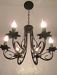 cheap -6-Light 51 cm Candle Style Chandelier Metal Black Chic & Modern 110-120V / 220-240V