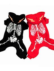 cheap -Dog Hoodie Christmas Winter Dog Clothes Black Red Christmas Halloween Costume Terylene Down Skull XS S M L XL
