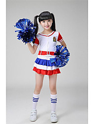 cheap -Cheerleader Costumes / Dance Costumes Outfits Performance Polyester Appliques / Belt Short Sleeves High Top / Shorts