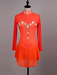 cheap -Figure Skating Dress Women's Girls' Ice Skating Dress Orange Dark Blue High Elasticity Competition Skating Wear Quick Dry Anatomic Design Handmade Classic Long Sleeve Ice Skating Figure Skating