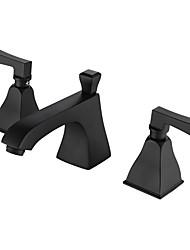 cheap -Luxury Art Deco/Retro Widespread Matte Ceramic Valve Two Handles Three Holes Painting, Bathroom Sink Faucet