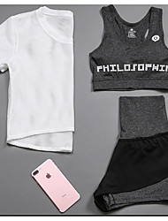 cheap -Women's Activewear Set Workout Outfits Athletic Short Sleeve Mesh Quick Dry Fitness, Running & Yoga Casual Yoga Fitness Gym Workout Pilates Exercise & Fitness Sportswear Compression Clothing White
