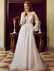 cheap -A-Line Wedding Dresses V Neck Sweep / Brush Train Lace Tulle Long Sleeve See-Through with Appliques 2021