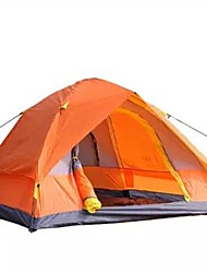 cheap -4 person Tent Outdoor Waterproof Rain Waterproof Quick Dry Double Layered Camping Tent 2000-3000 mm for Camping / Hiking Glass fiber Terylene