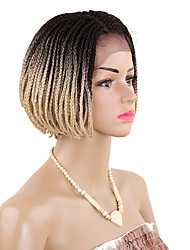 cheap -Twist Braids Synthetic Lace Front Wig Box Braids Box Braids Short Bob Wig Blonde Burgundy Black / Burgundy Medium Brown Black / Blonde Black Synthetic Hair Kanekalon 12 inch Women's Blonde Burgundy