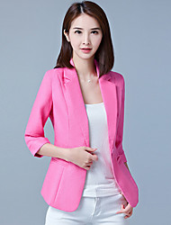 cheap -Women's Work Basic Spring &  Fall Plus Size Regular Solid Colored Notch Lapel 3/4 Length Sleeve Polyester Blushing Pink / Fuchsia / Light Blue / Slim