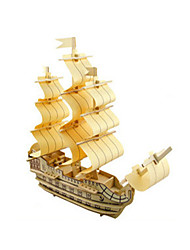 cheap -3D Puzzle Jigsaw Puzzle Model Building Kit Ship DIY Wooden Classic Kid's Unisex Toy Gift