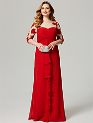 cheap -Sheath / Column Beautiful Back Holiday Cocktail Party Formal Evening Dress Illusion Neck 3/4 Length Sleeve Floor Length Chiffon with Criss Cross Ruched Appliques 2020