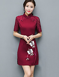 cheap -Women's Plus Size Street chic Sheath Dress - Embroidered Stand