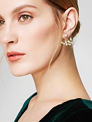 cheap -Women's Stud Earrings Jacket Earrings Leaf Basic Simple Style Fashion Earrings Jewelry Silver / Golden For Daily Casual