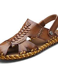 cheap -Men's Comfort Shoes Leather Summer Sandals Dark Brown / Khaki / Casual