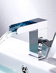 cheap -Bathroom Sink Faucet - Waterfall High Quality Chrome Centerset Single Handle One Hole