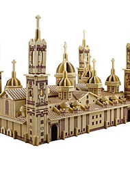 cheap -3D Puzzle Jigsaw Puzzle Model Building Kit Church Cathedral Plaza del Pilar DIY Simulation Wooden Classic Kid's Adults' Unisex Boys' Girls' Toy Gift / Wooden Model
