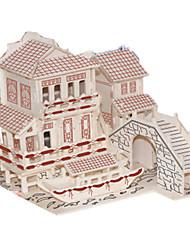 Недорогие -3D пазлы Пазлы Наборы для моделирования Знаменитое здание Китайская архитектура Своими руками моделирование деревянный Классика В китайском стиле Универсальные Мальчики Девочки Игрушки Подарок