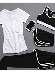 cheap -Women's Activewear Set Workout Outfits Athletic Long Sleeve Spandex Cycling Fitness, Running & Yoga Casual Yoga Fitness Gym Workout Pilates Exercise & Fitness Sportswear Clothing Suit White / Black