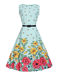 cheap -Kids Girls' Floral Cartoon Fashion Print Sleeveless Dress Light Blue / Cotton