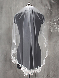 cheap -One-tier Lace Applique Edge Wedding Veil Elbow Veils with Appliques Lace / Tulle / Mantilla