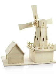 abordables -Maquettes de Bois Moulin à vent A Faire Soi-Même En bois Classique Enfant Jouet Cadeau