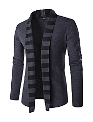cheap -Men's Daily / Weekend Striped Long Sleeve Slim Regular Cardigan Sweater Jumper Spring / Fall / Winter Wool Black / Gray M / L / XL