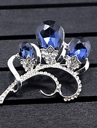 cheap -Women's Synthetic Diamond Brooches Flower 3 stone Flower Animal Ladies Brooch Jewelry Dark Blue For Wedding Party Special Occasion Party Evening Party / Evening Event / Party