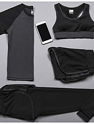cheap -Women's 2-Piece Spandex Workout Set Activewear Set Yoga Suit 2pcs Yoga Running Pilates Camping & Hiking Fitness, Running & Yoga Casual Sportswear Tracksuit Underwear Compression Clothing Short Sleeve